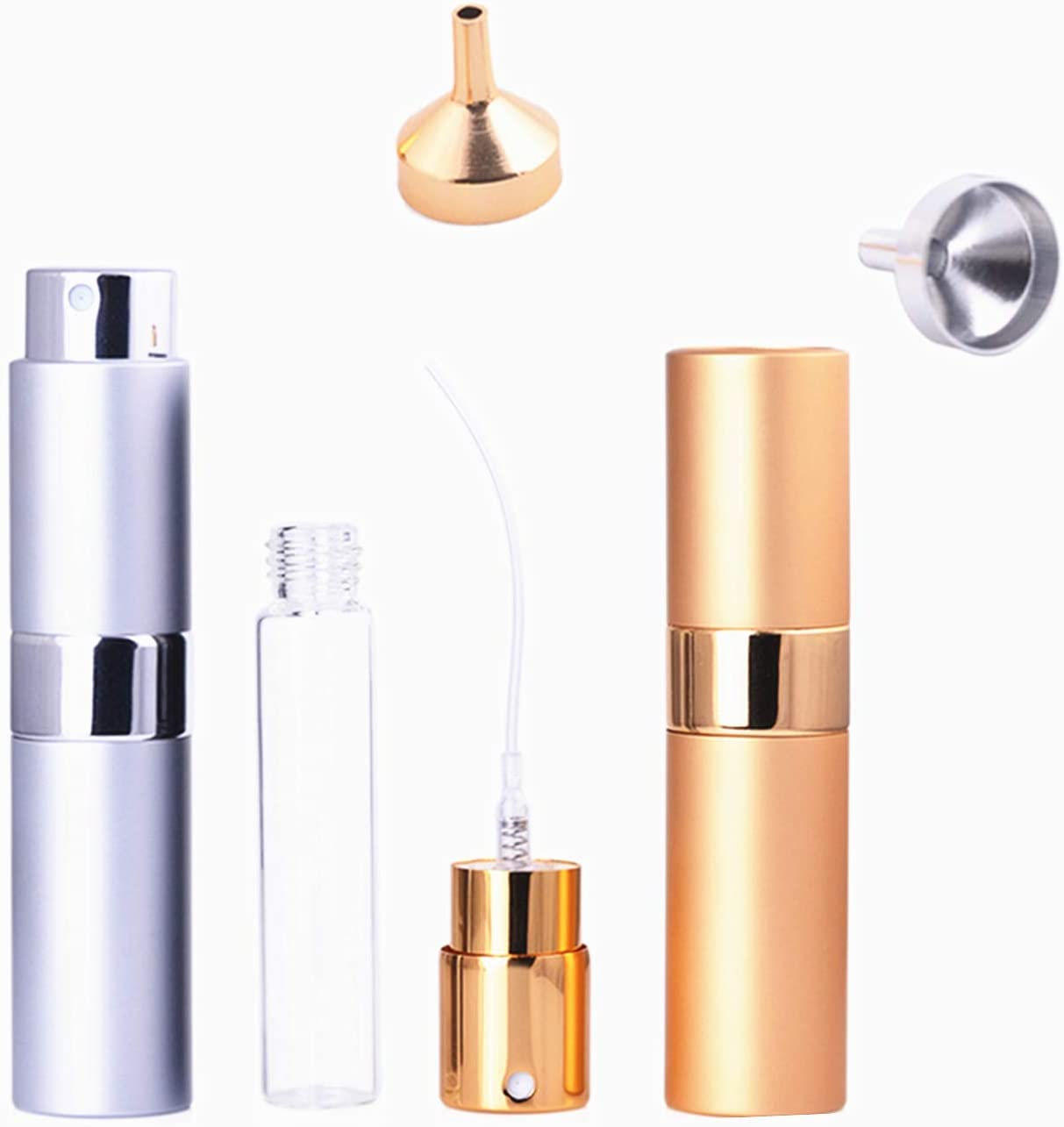 2 Pack 15ml Atomizers Bar Mister with Refillable Canister and 2 Pcs Funnel for Vermouth Spray, Glass Canister with Portable Rotating Aluminum Case,Sprayer Refillable Containers - Gold/Silver