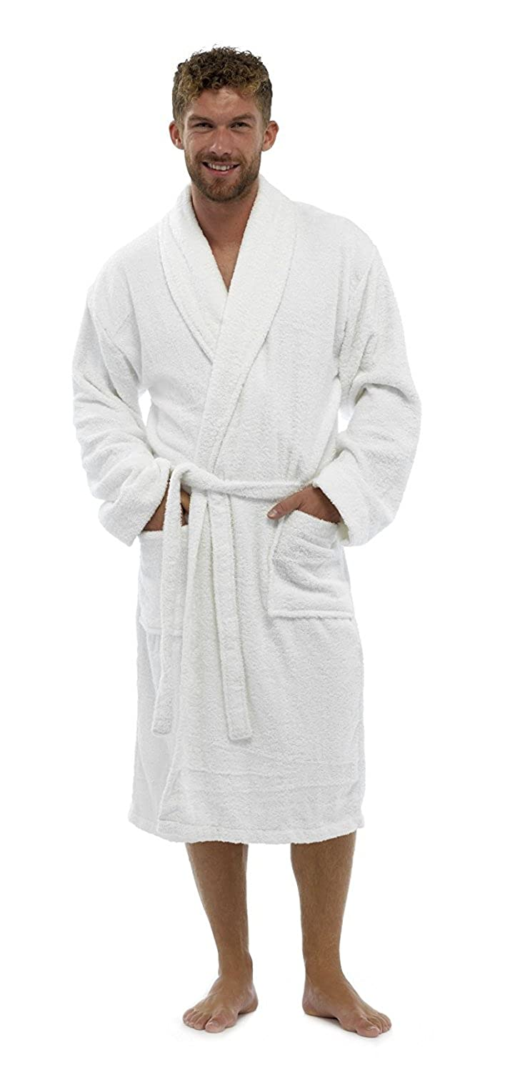 Mens Bathrobe Luxury Soft 100% Egyptian Cotton with Pockets and Belt  Dressing Gowns Towelling Bath Robe Terry Towel Shawl Collar Nightwear  Loungewear ... 7677f3588