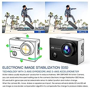 4K Action Camera By DBPOWER N5S 20MP WiFi Ultra HD EIS Sports Cam 170 Degree Adjustable Wide-Angle Lens 30m Underwater Camcorder Including 2 Rechargeable Batteries and Mounting Accessories Kit from DBPOWER