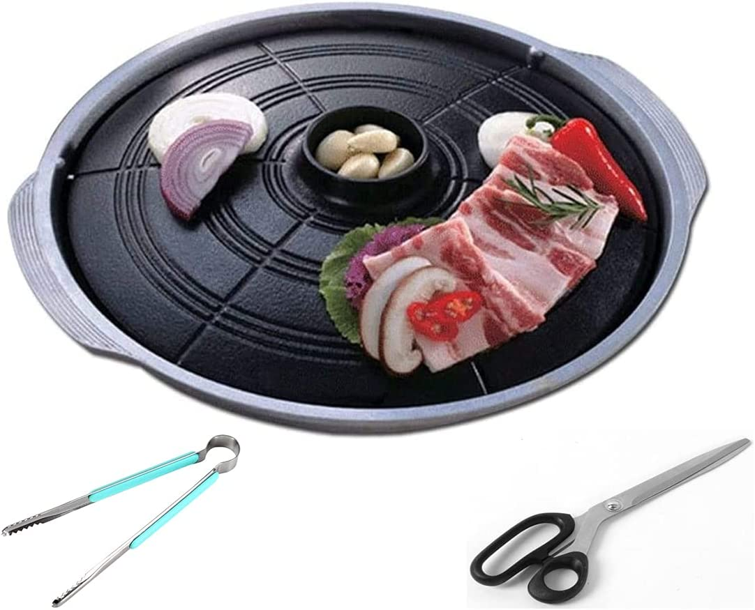 Korean BBQ Pot Lid Grill Plate Pan, Stovetop Nonstick Indoor/Outdoor Barbecue (33 cm / 13 inch) Cauldron Lid Shape, Smokeless BBQ Cast Aluminum Grill Pan, Additional Scissors & Multipurpose Tongs