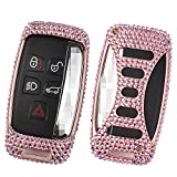 [M.JVisun] Car Key Fob Cover For Jaguar XE XF XJ F-PACE F-TYPE Remote Key Smart Engine Start Stop, Diamond Car Key Case Cover Handmade, Aircraft Aluminum + Genuine Leather + Bling Crystal - Rose Gold
