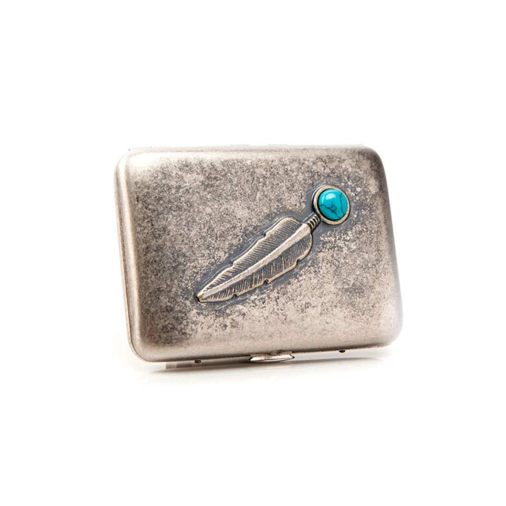 ZHONGYUE 16 Packs of Cigarette Cases, Personalized Metal Cigarette Packs, Cigarette Holders, 320 Ancient Silver Turquoise Feathers, Unique Design, Sturdy and Lightweight.