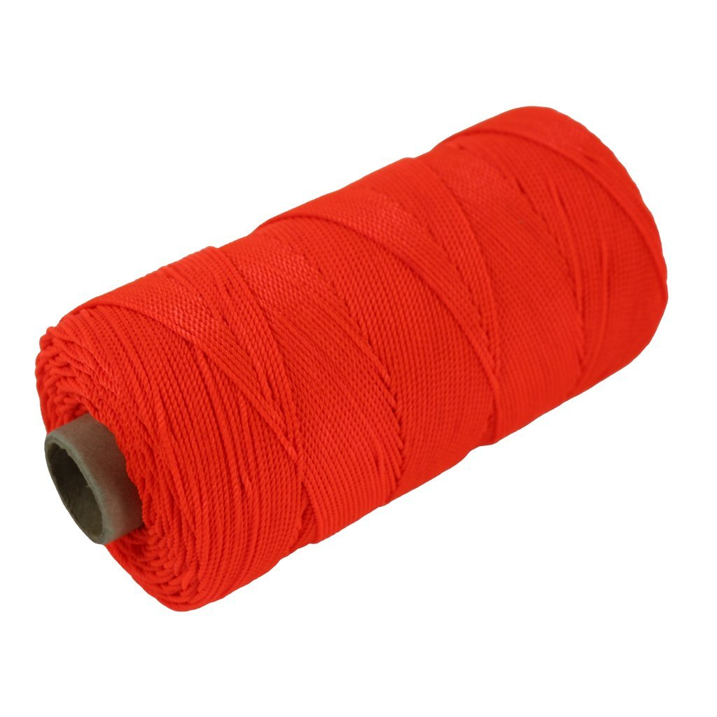 Twisted Nylon Mason Line #18 - SGT KNOTS - Moisture, Oil, Acid & Rot Resistant - Twine String for Masonry, Marine, DIY Projects, Crafting, Commercial, Gardening (550 feet - Florescent Orange)