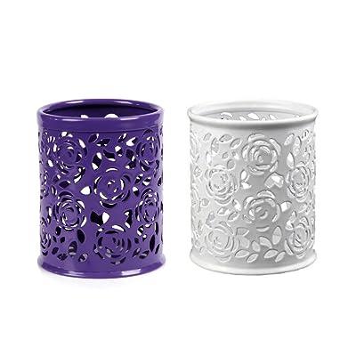 YOKIRIN Pointe du Pinceau Crayon Vases Creux Fleur Rond Stylo Crayon Porte-pot 2 en 1 - Pot Conteneur Violet + Blanc