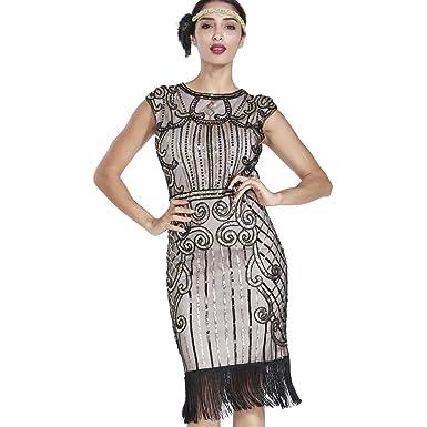 MAYEVER 1920s Vintage Inspired Sequin Embellished Fringe Gatsby Flapper Costume Dress (XS, Pink &
