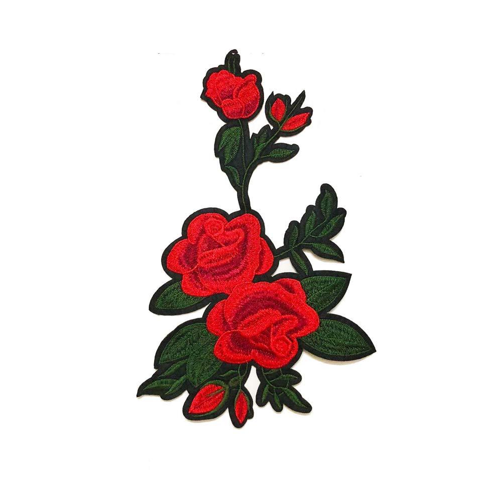 Stockton Écusson Brodé Patch Thermocollant DIY Brodé Patch Rose Fleur Coudre Correctifs Sac Hat Appliques