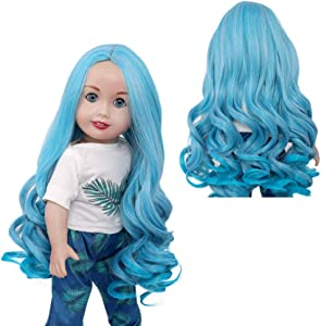 Heat Resistance American Doll Wigs Long Wavy Curls Acqua Hair Wig Doll Wig BJD SD Heat Resistant Synthetic Hair for 18 Inch Doll with 10-11 Inch