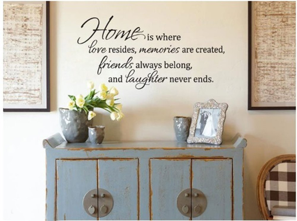 Amazon.com: Home Is Where Love Resides Quote Vinyl Wall Decal ...