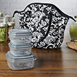 fresh fit containers - Fit & Fresh Davenport Insulated Lunch Bag with Reusable Container Set (Black & White All Over Floral)