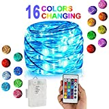 Yenl LED String Lights,Battery Powered Multi Color Changing String Lights With Remote,50leds Indoor Decorative Silver Wire Lights for Bedroom ,Patio,Outdoor (1 pack,16.4ft,Multi Color)