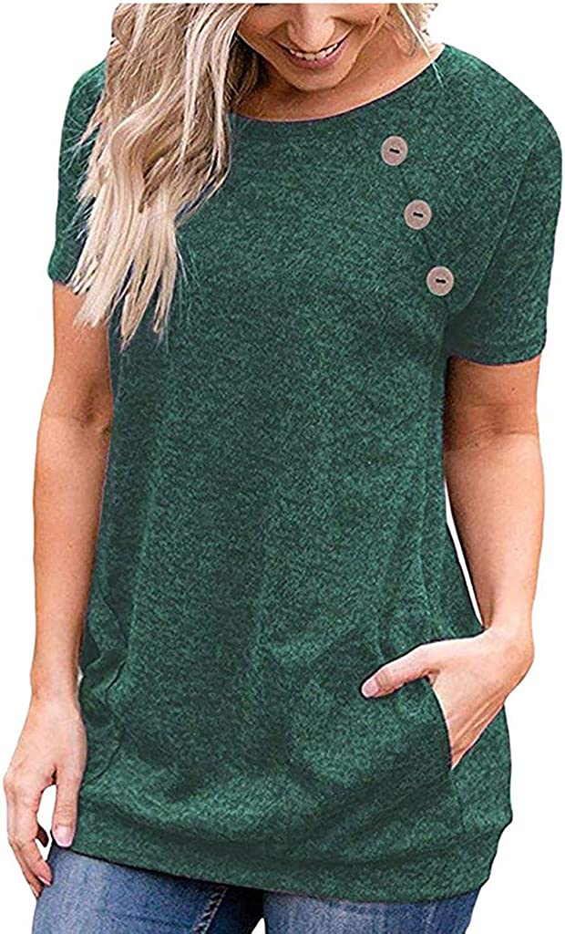 Short Sleeve Casual Solid Color Summer T Shirts Tops Loose Fits Tunic Tee with Pocket