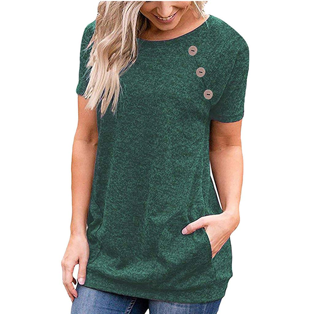TWinmar -Women Plus Size Tunic Tops, Solid O-Neck Short Sleeve Tops Casual T Shirt Loose Tunic Blouse with Buttons Army Green