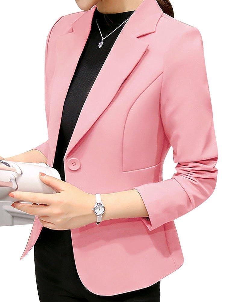 ZhuiKun Damen Blazer Langarm Slim Business Anzug Einreihig Mantel Jacke