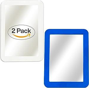 "Magnetic Mirror - 2-Pack Locker Mirror Boxgear - 5"" x 7""- for School Locker, Bathroom, Household Refrigerator, Locker Accessory, Workshop Toolbox or Office Cabinet, White and Blue"