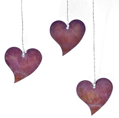 Deko Herzen Zum Aufhängen.Rostikal Edelrost Deko Herz Rostdeko Herzhänger Metall Blech Herzen Zum Aufhängen 12er Set 5 Cm