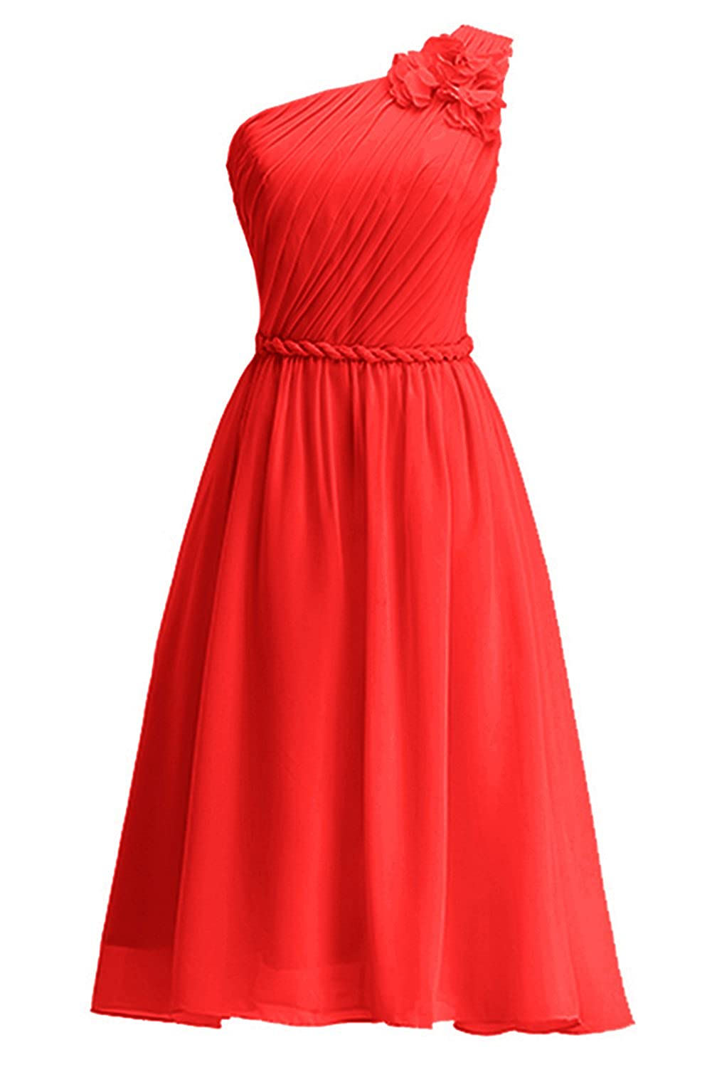 Rouge 42 femme KekeHouse® Une épaule Robe Courte de Cérémonie Soirée Demoiselle d'honneur Femme Fille d'été sans Manches