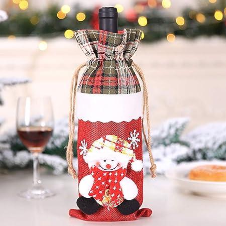 Compra Decdeal Tapa de la Botella de Vino de Navidad de Champán Bolsa de Regalo de Vino Tinto de Navidad Bolsa de Dulces de Navidad Decoración Navideña para la Fiesta en Amazon.es