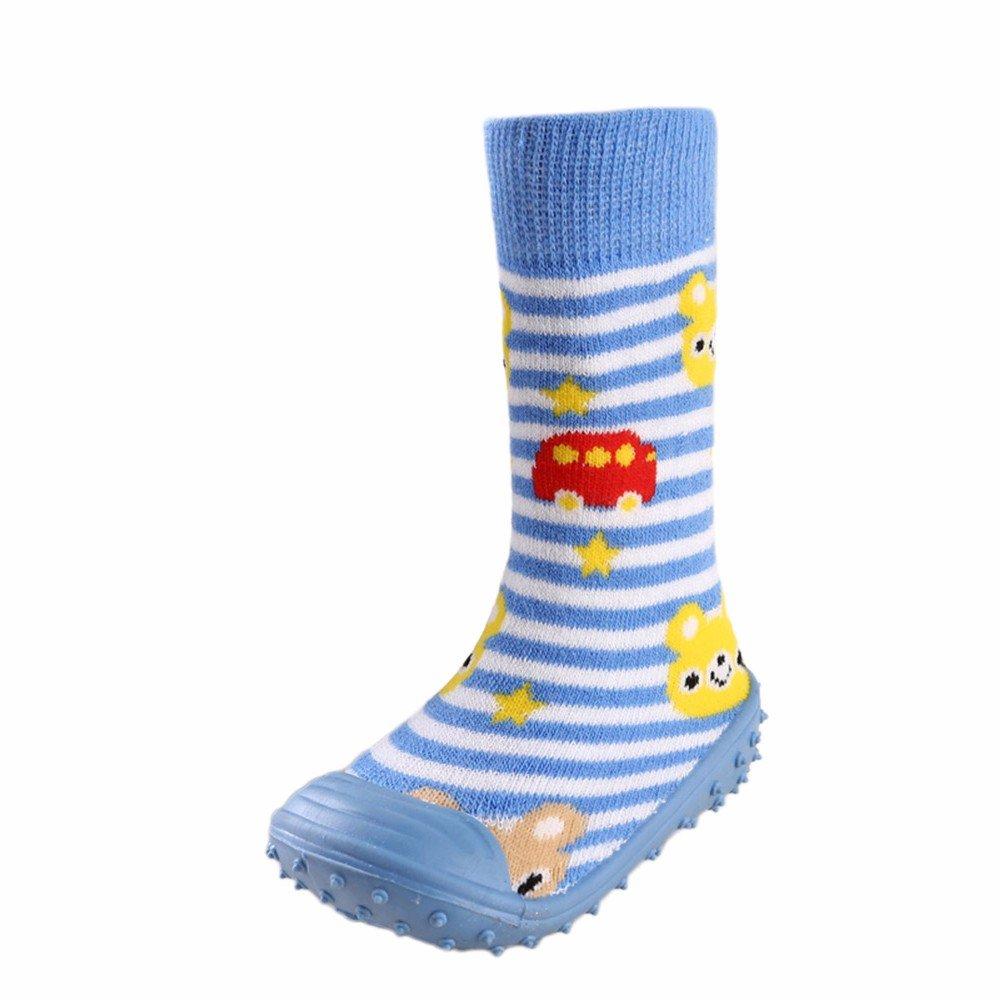 Infant Baby Cartoon Patterned Soft Rubber Bottom Anti-Slip Floor Socks Boots Flooring Antiskid Shoes (Age:2-2.5 years old, Green) Fdsd