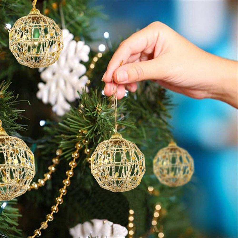 QinMM Christmas Ball Decoration, Christmas Tree Glitter Hanging Party, Decorazione di Nozze a casa, Golden Powdered Scale Christmas Ball 6Pcs