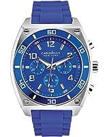 Caravelle New York - 45A115 - Montre Homme - Quartz Chronographe - Cadran Bleu - Bracelet Caoutchouc Bleu