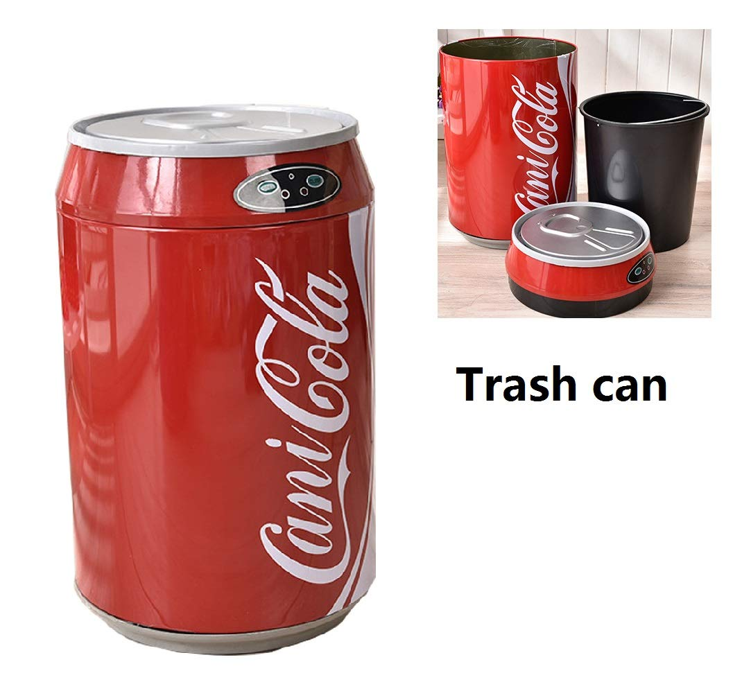 MTOILET Trash Can with Lid Stainless Can Round Coke Can Stylish Home Living Room Automatic Induction Electronic Smart Trash Can (Red)