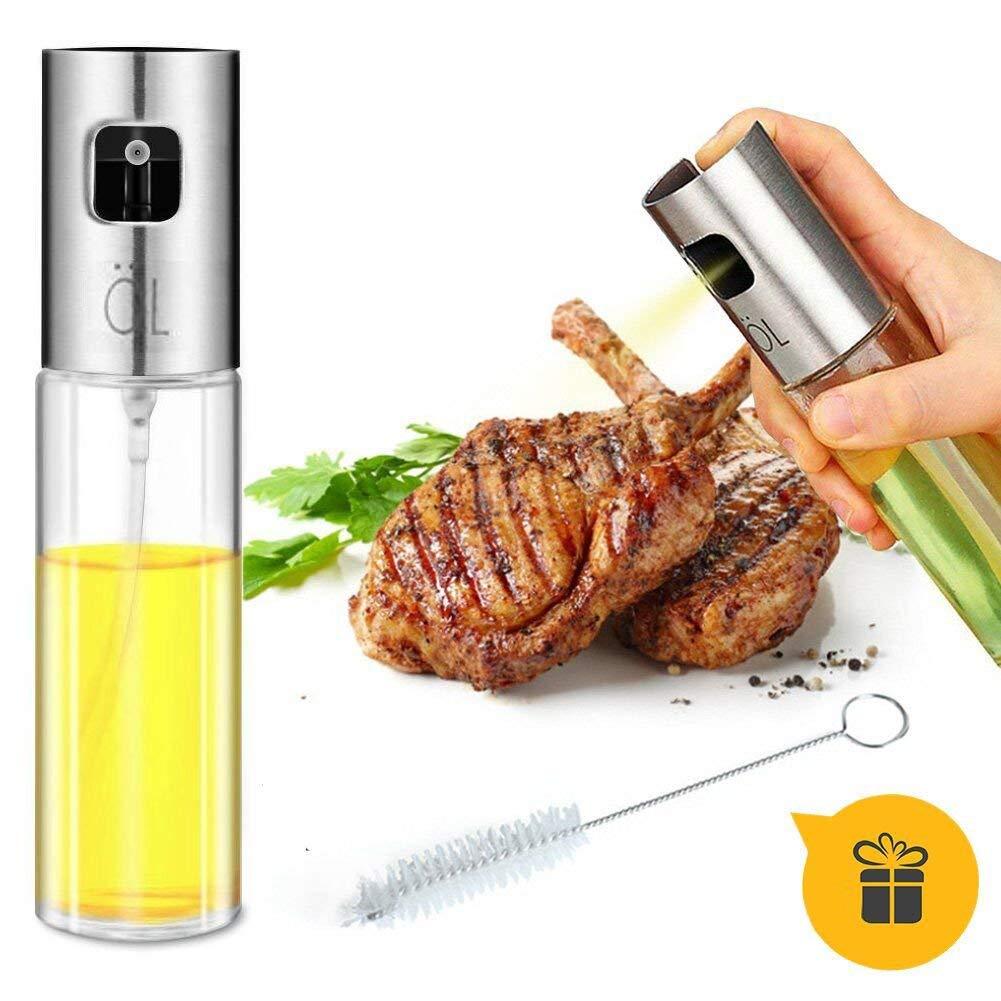 Oil Sprayer for Cooking, Olive Oil Sprayer Glass Bottle Vinegar Bottle Oil Dispenser with Brush Stainless Steel for BBQ, Cooking, Frying, Baking, 3.42-Ounce Capacity