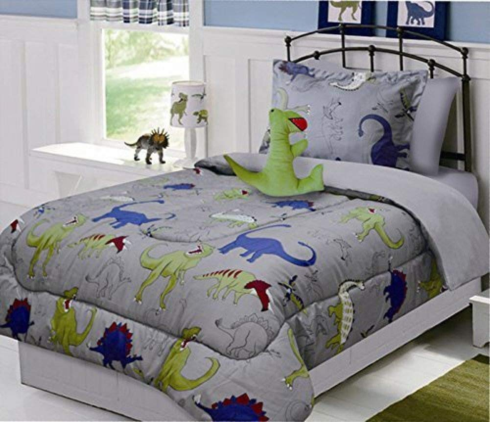 Fancy Linen Collection 8pc Full Size Comforter Set DINOSAUR Grey Blue Yellow Comforter Set With Furry Buddy Included New