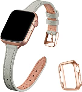 STIROLL Slim Leather Bands Compatible with Apple Watch Band 38mm 40mm 42mm 44mm, Top Grain Leather Watch Thin Wristband for iWatch SE Series 6/5/4/3/2/1 (Gray with Rose Gold, 38mm/40mm)