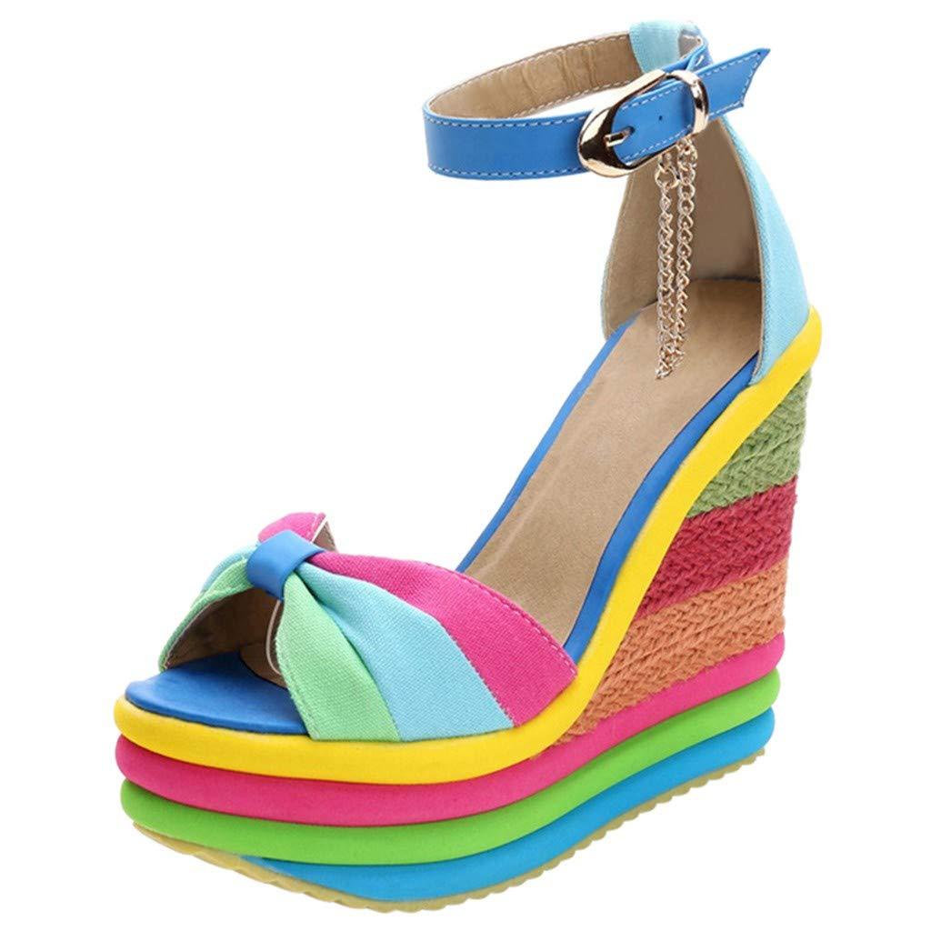 Midress Women's Platform Ankle Strap Dress Wedge Sandal Ladies Wedges High Multicolor Patchwork Sandals Peep Toe Shoes