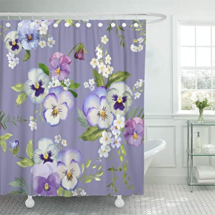 Emvency Shower Curtain Waterproof Adjustable Polyester Fabric Bloom Pansy Flowers Floral Shabby Chic Pattern In Blossom