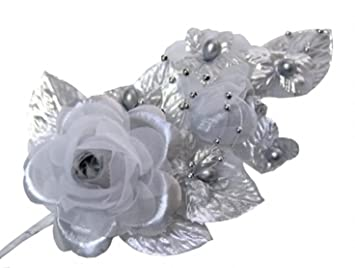 Amazon 3 silver silk flowers pearl organza corsages 5x 25 3 silver silk flowers pearl organza corsages 5quotx 25quot mightylinksfo