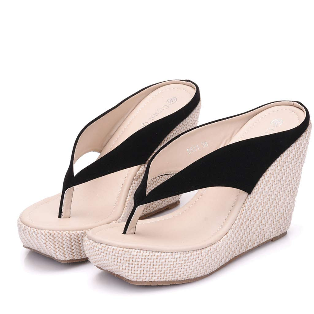 SMALLE_Shoes Wedge Flip Flops for Women,SMALLE◕‿◕ Women Beach Sandals Platform Wedges Sandals High Heels Wedges Slippers Black by SMALLE_Shoes (Image #6)