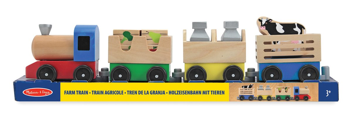 Melissa /& Doug 4545 Farm Juquete Tren de Madera Multicolor