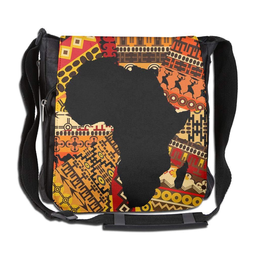 SARA NELL Messenger Bag,Africa Totem Map,Unisex Shoulder Backpack Cross-body Sling Bag
