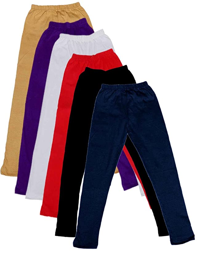Pack of 9 Indistar Little Girls Cotton Full Ankle Length Solid Leggings -Multiple Colors-3-5 Years