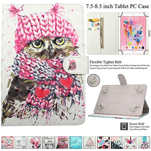 Universal 7.5-8.5 inch Tablet Case, Artyond Folio Stand Flip Card Slot Wallet Case with Magnetic Closure Cover for iPad Mini,Kindle,Android,Galaxy Tab & Other 7.5-8.5 inch Tablet (Knitted Owl) (Mini Case Owl Galaxy Samsung 4)