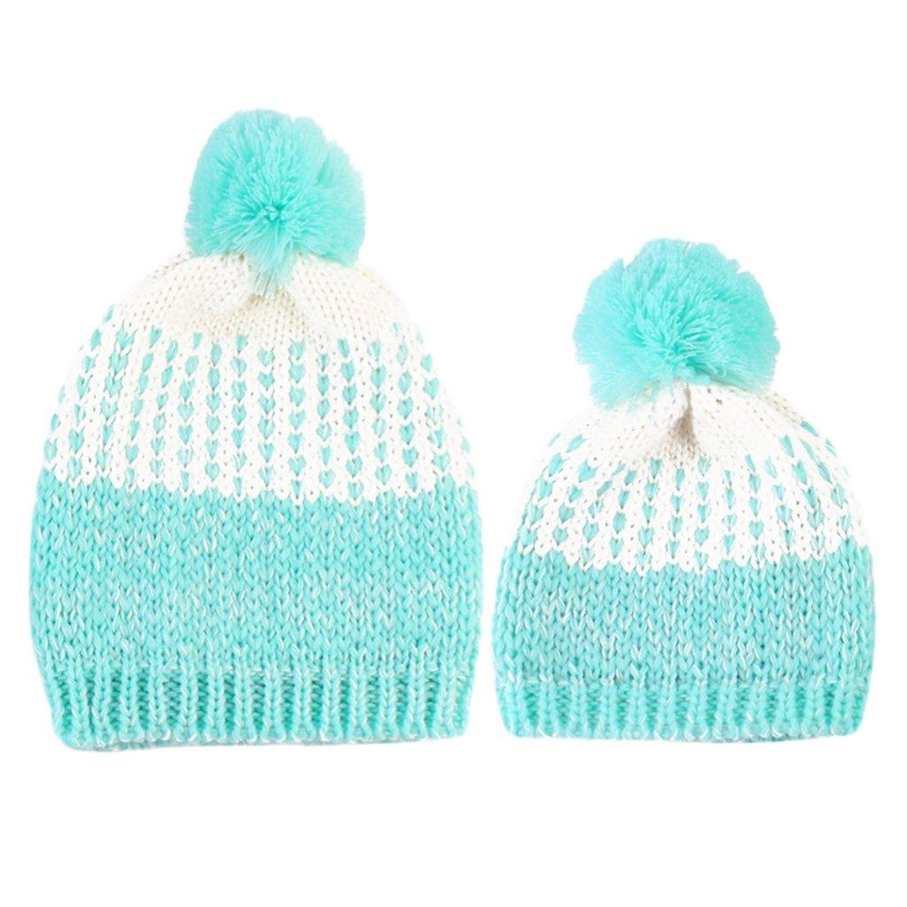Sharplace Bonnet Maman Bébe Pompon Tricoté Parent-Enfant Chapeau 5Couleurs à Choix - Kaki