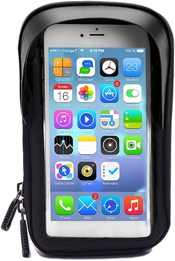 lymty Support V/élo T/él/éphone Etanche,Sacoche T/él/éphone Guidon Cadre V/élo VTT Moto Scooter avec Housse Transparante Ecran Tactile Pochette Espace de Rangement pour 6 Pouces Smartphone