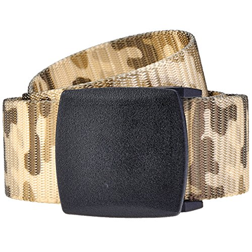 Ayliss Men Women Military Webbing Nylon Belt Hypoallergenic Plastic Automatic Buckle (One Size, #2 Camouflage 03)