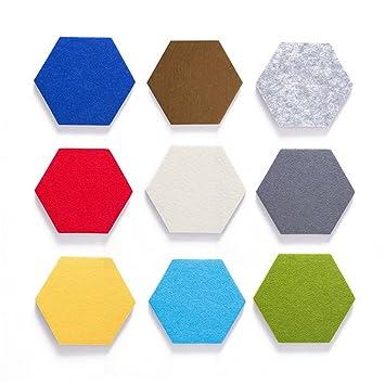 JYCRA - Pizarra de corcho hexagonal, 9 piezas coloridas de fieltro, para pared, tipo hexagonal, pizarra creativa, adhesivo de pared para decoración de ...