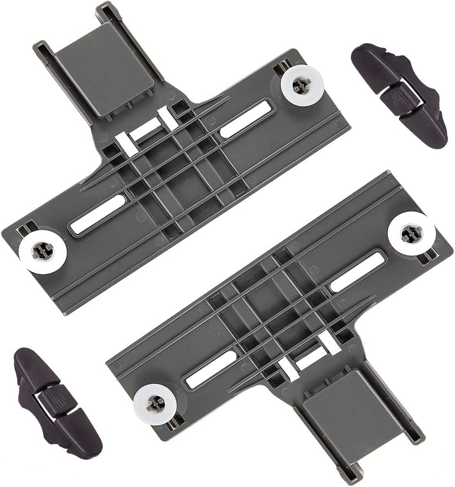 W10350375 Dishwasher Upper Rack Adjuster (2 Pcs) & W10508950 Dishwasher Stop (2 Pcs) for Whirlpool Kenmore Dishwasher Parts Replaces W10712395 W10712395VP 3516330 AP5957560 WPW10350375