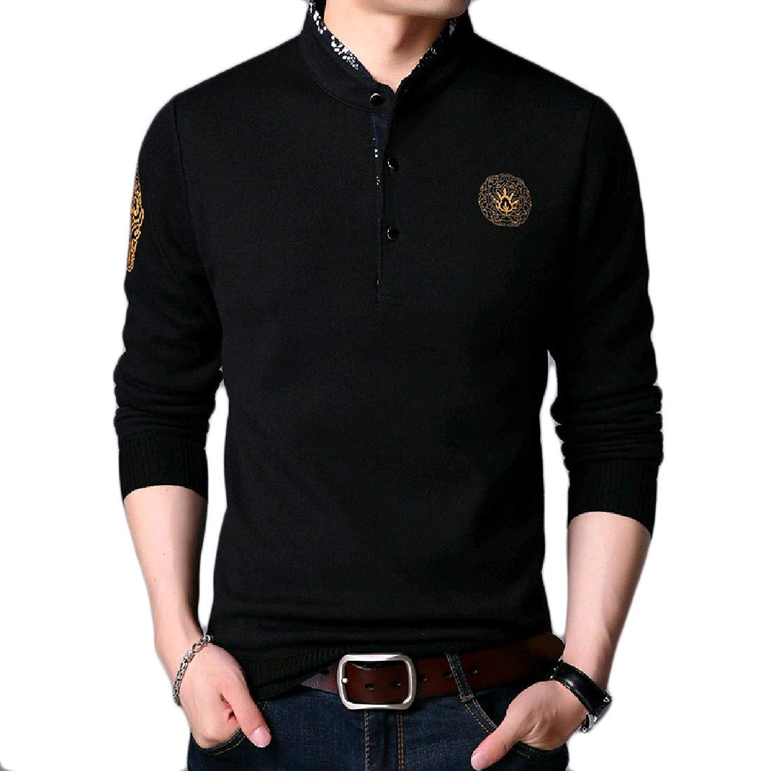 VITryst-Men Single-Breasted Plus Size Embroidery Tshirt Tops Tees