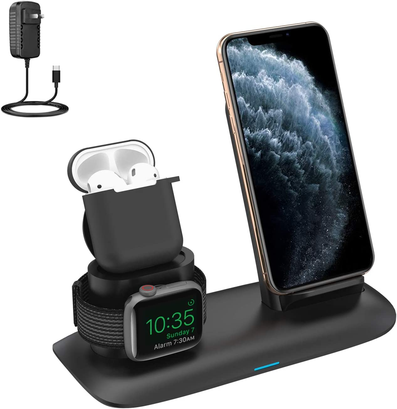 Wireless Charger, 3 in 1 Wireless Charging Stand for Latest Airpods iPhone and iWatch, Wireless Charging Station Compatible for iPhone 11/11 Pro Max/X/XS Max/8 Apple Watch Charger 5 4 3 2 1 Airpods 2