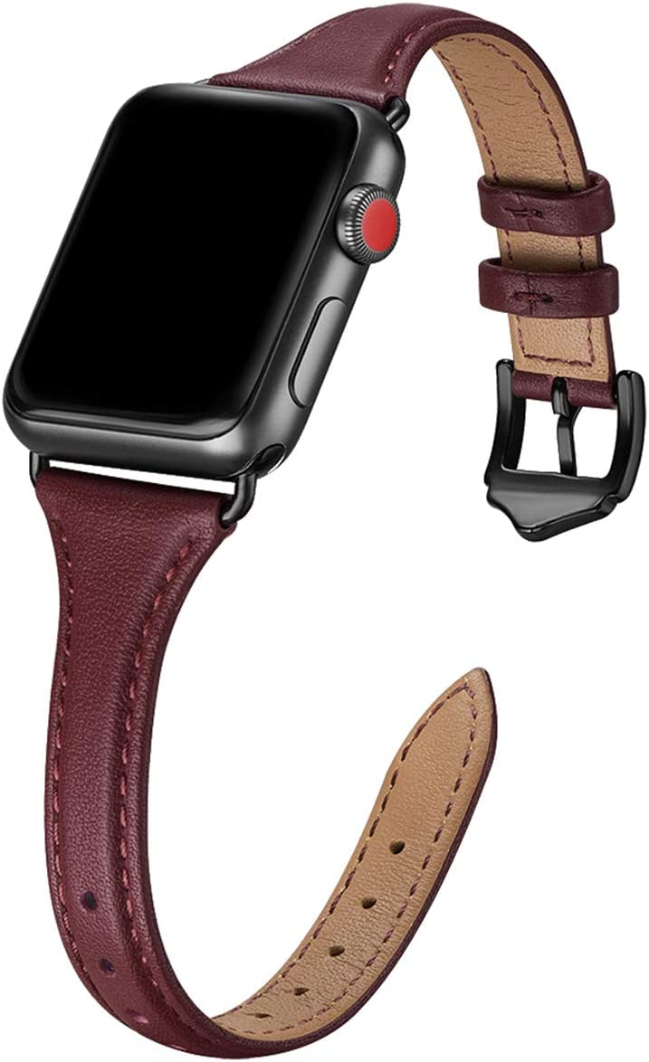 WFEAGL Leather Bands Compatible with Apple Watch 38mm 40mm 42mm 44mm, Top Grain Leather Band Slim & Thin Replacement Wristband for iWatch SE & Series 6/5/4/3/2/1 (Wine Band+Black Adapter, 38mm 40mm)