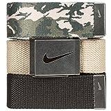 Nike Men's 3 Pack Web Belt, Cargo Khaki Camo/Khaki/Black, One Size
