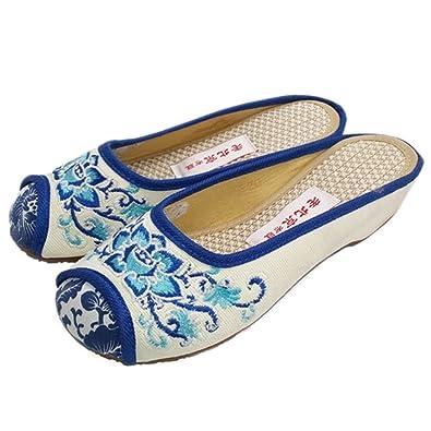 Bonitos y Elegantes Zapatillas Bordadas de Flores Lotus Azul 35 XQwzGr5f