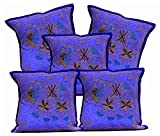 5Pcs-100Pcs Amazing India Handmade Jari Embroidered Work Purple Traditional Cushion Covers Wholesale Lot