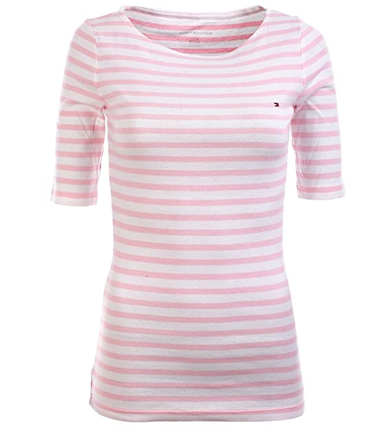 Tommy Hilfiger - Camiseta - para mujer rosa color rosa y blanco Large