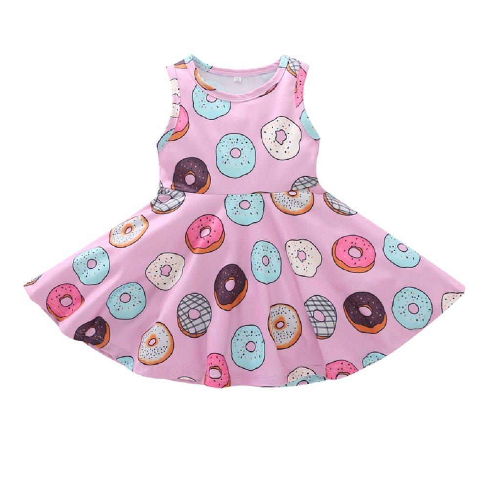 MOLYHUA Little Girls Dress Pink, Toddler Girls Doughnut Print Halter Skirt Sleeveless Summer Dress (110(4T), Pink Dress)