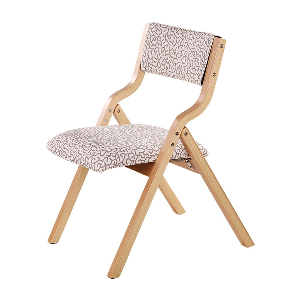1  Chair Wooden Folding Chair Fabrics Household Dining Chair Office Backrest Chair Computer Chair Portable Lounge Chair (color   7 )
